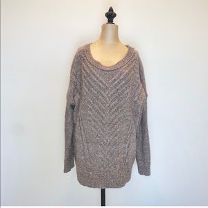 Oversized chunky brown cable knit sweater #3429